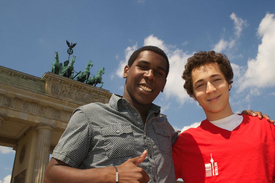 Berlin College students at Brandenburg Gate - we arrange 2 Berlin-activites  every day